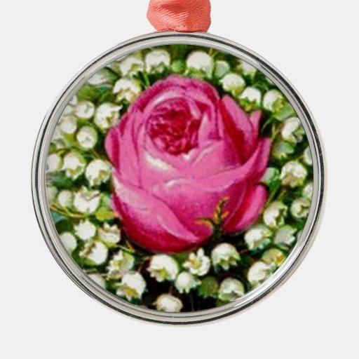 Retro Vintage Floral Bouquet Rose Lilies Round Metal Christmas Ornament