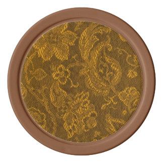 Retro Vintage Floral Brocade Mustard Yellow Gold Poker Chips