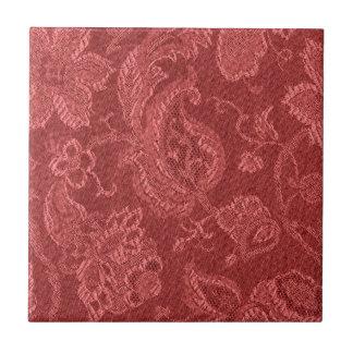 Retro Vintage Floral Cranberry Red Tile