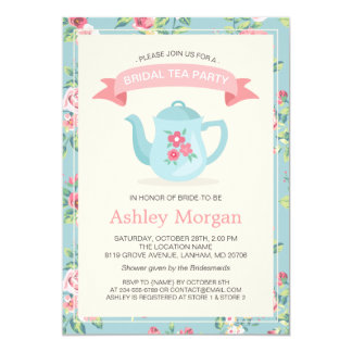 Retro Vintage Floral Decor Bridal Shower Tea Party Card