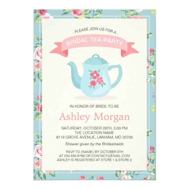 Retro Vintage Floral Decor Bridal Shower Tea Party Card