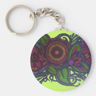 Retro, vintage floral design keychain