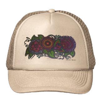 Retro, vintage floral design trucker hat