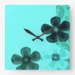 Retro Vintage Floral Flowers Teal Wall Clock