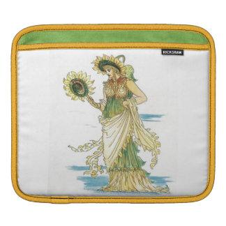 Retro Vintage Floral Goddess Lady Sunflower Classy iPad Sleeve