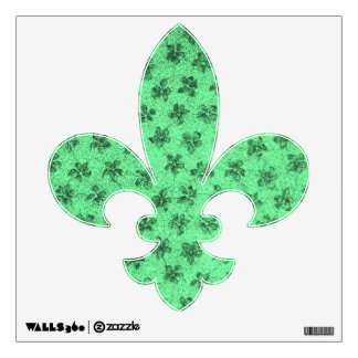Retro Vintage Floral Green Flowers Wall Sticker