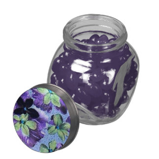 Retro Vintage Floral Green Purple Violets Flowers Jelly Belly Candy Jars
