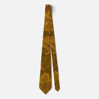 Retro Vintage Floral Mustard Yellow Gold Tie