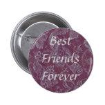 Retro Vintage Floral Plum Rouge Best Friend Button