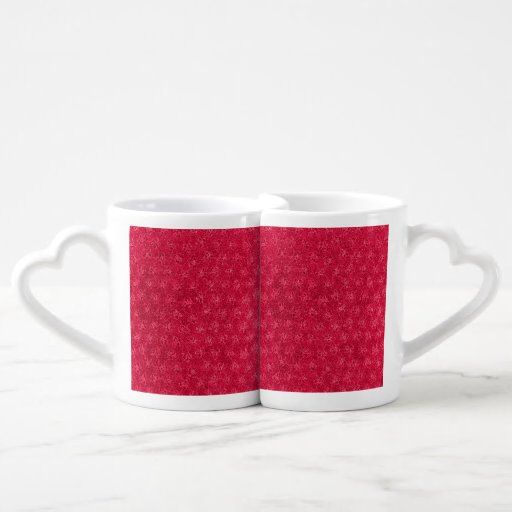 Retro Vintage Floral Ruby Cranberry Red Violets Lovers Mugs