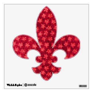Retro Vintage Floral Ruby Red Wall Sticker