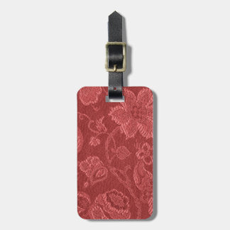 Retro Vintage Floral Rust Red Luggage Tag