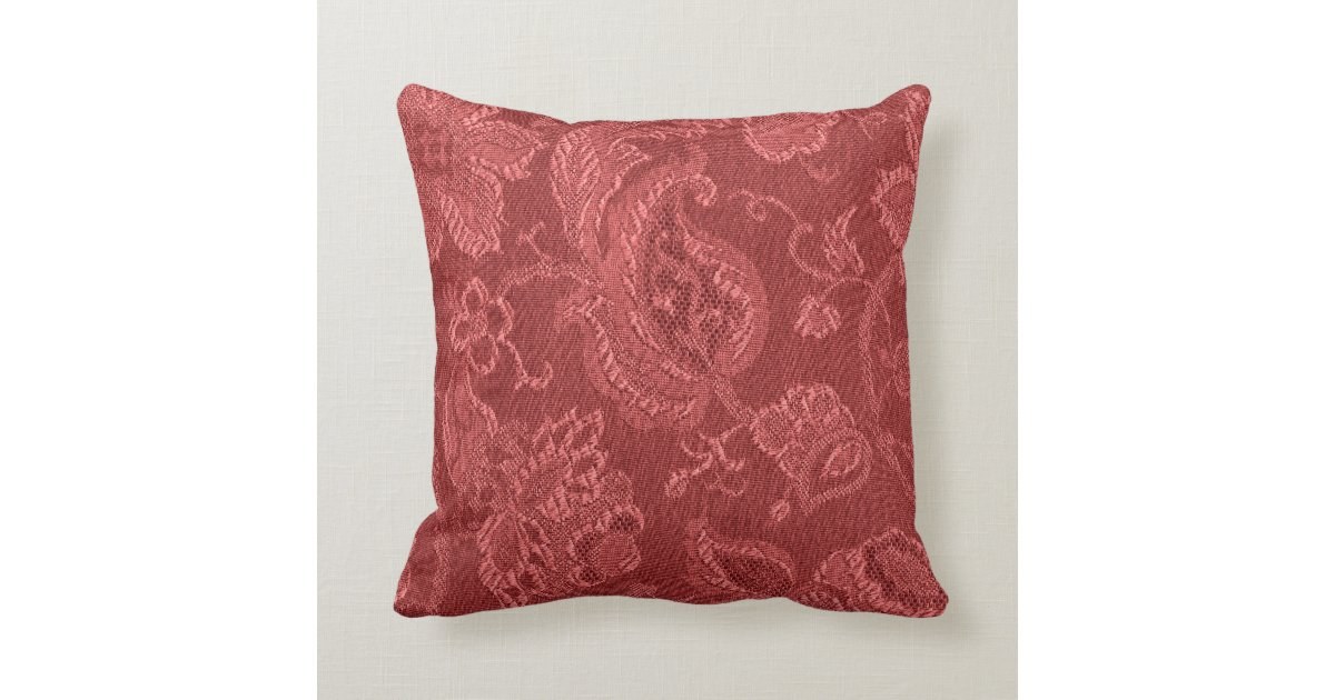 Retro Vintage Floral Rust Red Throw Pillow Zazzle