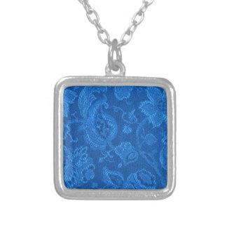 Retro Vintage Floral Sapphire Blue Necklace