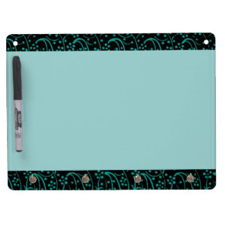 Retro Vintage Floral Swirl Teal Dry Erase Board