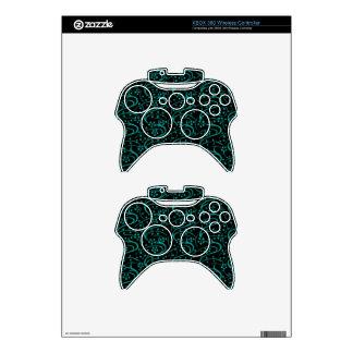 Retro Vintage Floral Teal Black Xbox 360 Controller Skins