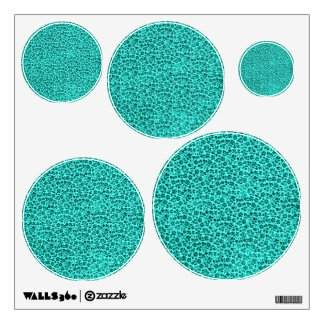 Retro Vintage Floral Teal Circle Wall Decal Set