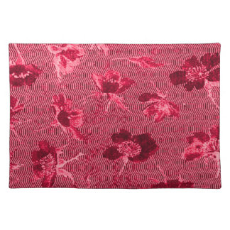 Retro Vintage Floral Waves Red Placemats Cloth Placemat