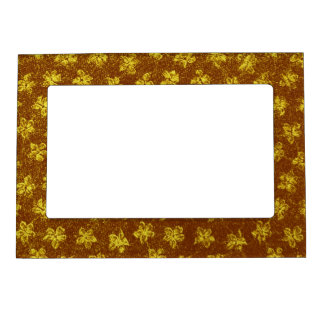 Retro Vintage Floral Yellow Brown Violets Flowers Magnetic Photo Frame