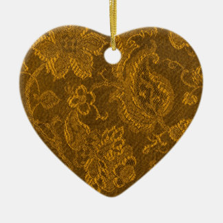 Retro Vintage Floral Yellow Gold Heart Ornament