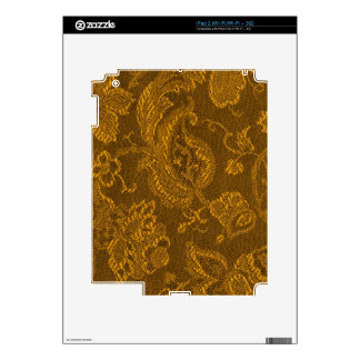 Retro Vintage Floral Yellow Gold iPad 2 Skin