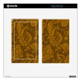 Retro Vintage Floral Yellow Gold Kindle Fire Skin