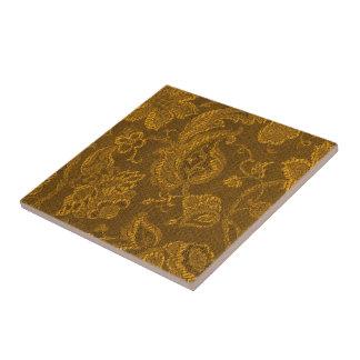 Retro Vintage Floral Yellow Gold Trivet Tile