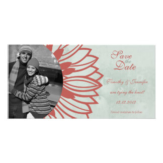 Retro vintage flower petal save the date photocard card