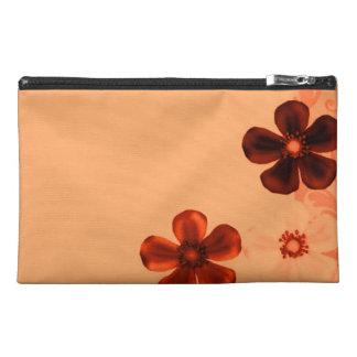 Retro Vintage Flowers Burnt Orange Rust Flower Travel Accessory Bags