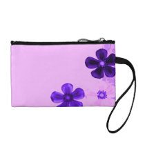 Retro Vintage Flowers Lavender Purple Amethyst Change Purse