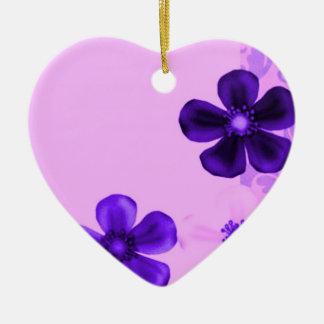 Retro Vintage Flowers Purple Heart Ornament
