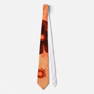 Retro Vintage Flowers Tangerine Orange Tie