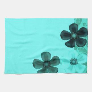 Retro Vintage Flowers Teal Kitchen Towels
