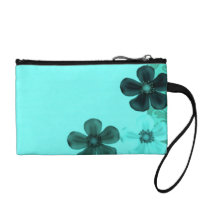 Retro Vintage Flowers Teal Peacock Bagettes Coin Wallet