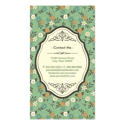 Retro Vintage Flowers with Elegant Vintage Frame Business Card Template (back side)