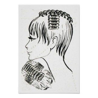 Retro vintage French  hair styles and management Print