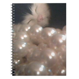 Retro Vintage Fur Kitten Antique Pearls Kitty Cat Notebook