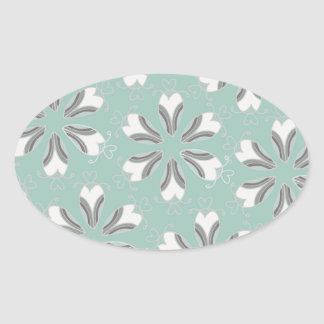 Retro Vintage Geometric Pattern - Personalize Oval Sticker