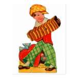 Retro Vintage German Valentine Accordion Boy Postcard