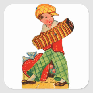 Retro Vintage German Valentine Accordion Boy Square Sticker