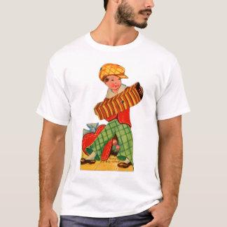 Retro Vintage German Valentine Accordion Boy T-Shirt