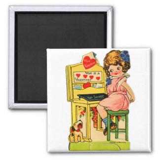 Retro Vintage German Valentine I'm Smart Girl 2 Inch Square Magnet
