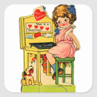 Retro Vintage German Valentine I'm Smart Girl Square Sticker
