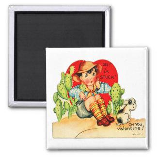 Retro Vintage German Valentine I'm Stuck On You 2 Inch Square Magnet