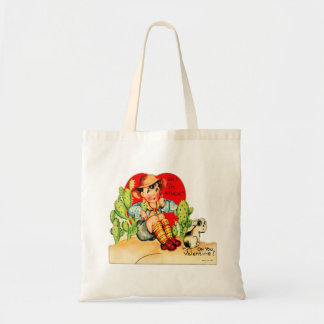 Retro Vintage German Valentine I'm Stuck On You Canvas Bags