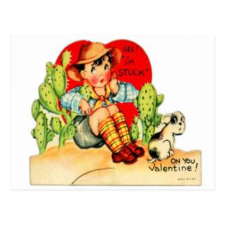 Retro Vintage German Valentine I'm Stuck On You Postcard