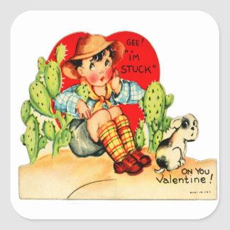 Retro Vintage German Valentine I'm Stuck On You Square Sticker
