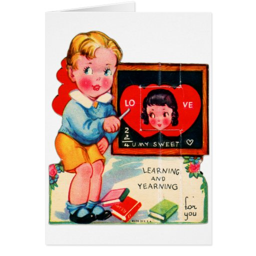 Retro Vintage German Valentine Learning & Yearning Greeting Cards