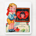 Retro Vintage German Valentine Learning & Yearning Mouse Pad