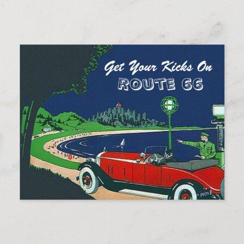 Retro Vintage Get Your Kicks On Route 66 Postcard